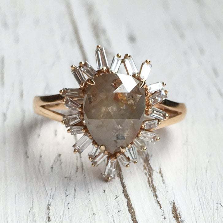 Richard Woo Pear Rustic Diamond Ring