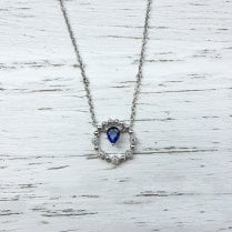 Pear Sapphire and Diamond Disc Necklace in White Gold