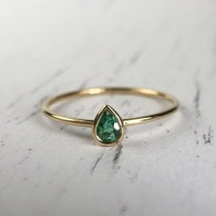 Richard Woo Pear shape Emerald Bezel Stacking Ring