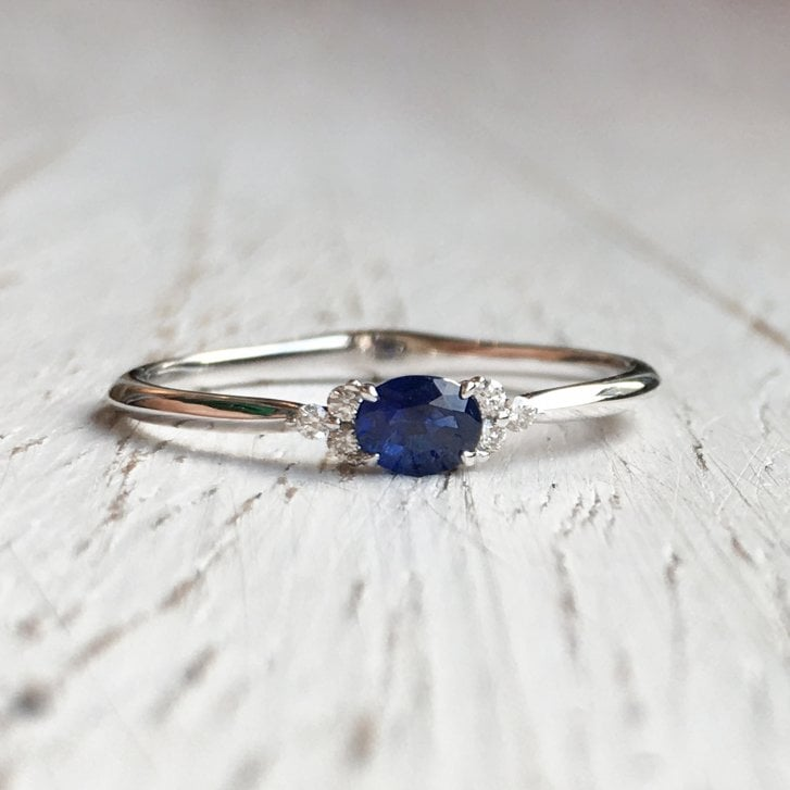 Richard Woo Petite Oval Sapphire and Diamond Trefoil Ring