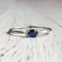 Petite Oval Sapphire and Diamond Trefoil Ring