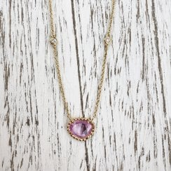 Pink sapphire Necklace with Diamond Accents