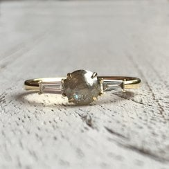 Rose Cut Diamond Ring with Baguette Shoulders