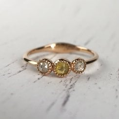 Richard Woo Rose Cut Diamond Trilogy Ring