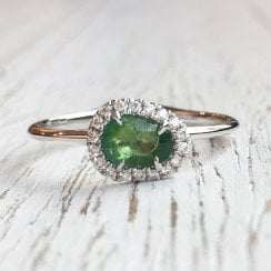 Rose Cut Emerald and Diamond Halo Ring in White Gold