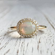 Rose Cut Opal and Diamond Halo Ring in Yellow Gold