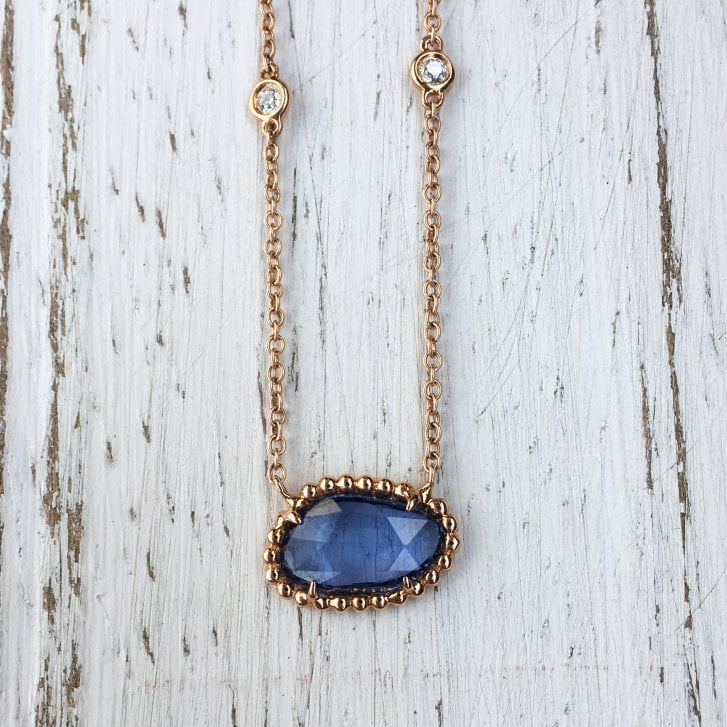 Richard Woo Rose Cut Sapphire Necklace with Scattered Diamonds in Rose Gold