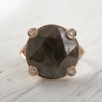 Richard Woo Rose Cut Sheen Sapphire Signet Ring in Rose Gold