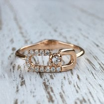 Richard Woo Rose Gold Diamond Buckle Ring