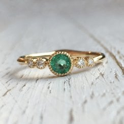 Round Emerald and Diamond Accents Ring in Yellow Gold