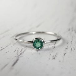 Richard Woo Round EMerald Stacking ring in white gold