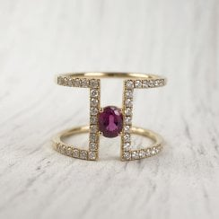 Richard Woo Ruby and Diamond Double Band Ring