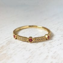 Ruby and Diamond Geometric Stacking Ring