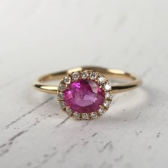 Richard Woo Ruby Ring with Diamond Halo