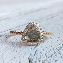 Salt and Pepper Diamond Slice Ring in Rose Gold