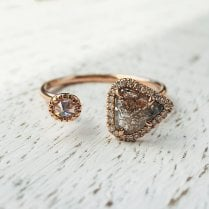 Salt and Pepper Diamond Slices Open Ring in Rose Gold