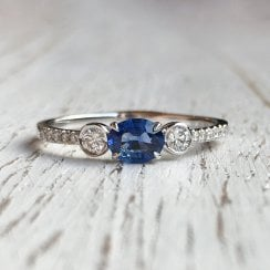 Sapphire and Diamond Accents Ring in White Gold
