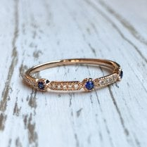 Sapphire and Diamonds Geometric Band in Rose Gold