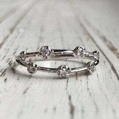 Scatterd Organic Diamond Double Band in White Gold