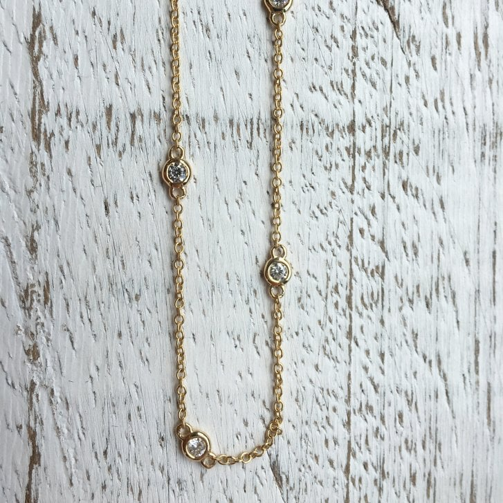 Richard Woo Scattered Diamond Necklace in Yellow Gold