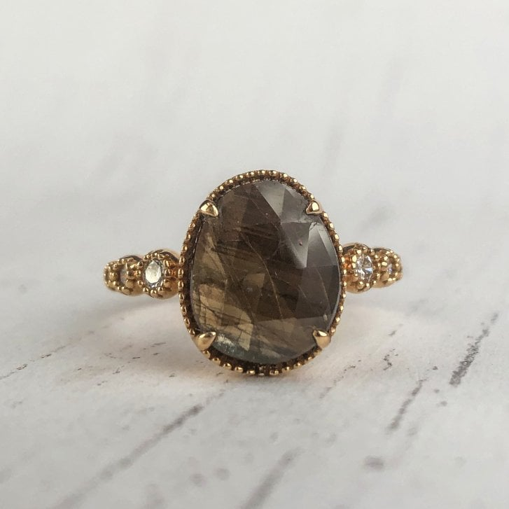 Richard Woo Sheen Sapphire and Diamond Shoulder Ring in Rose Gold