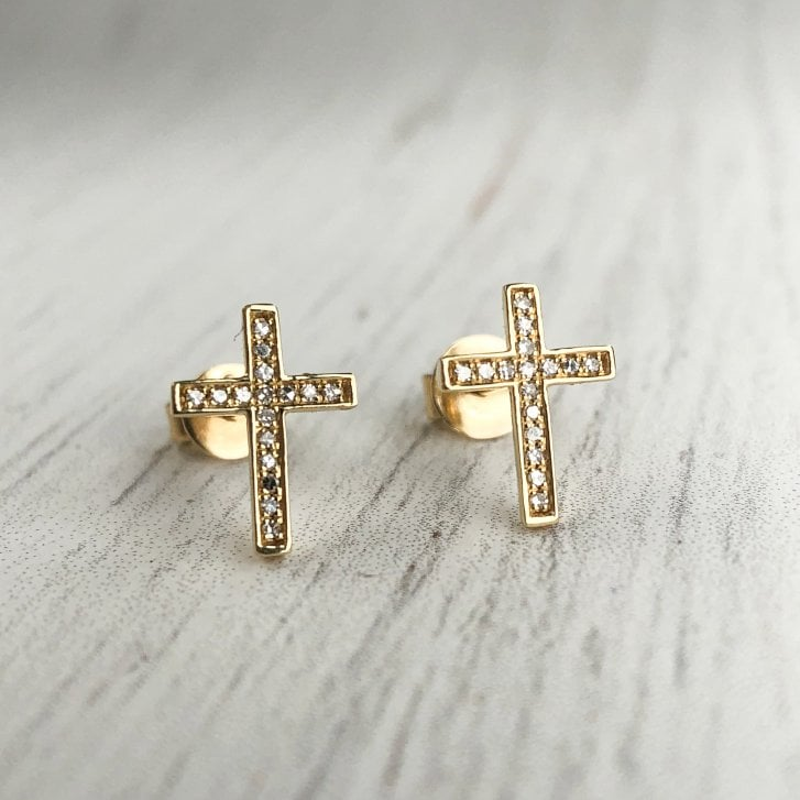 Richard Woo Small Diamond Cross Stud Earrings