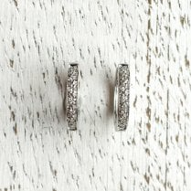 Small Diamond Hoops in White Gold
