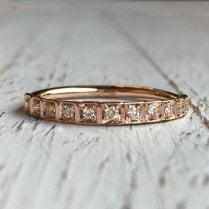 Square Set Diamond Band in Rose Gold