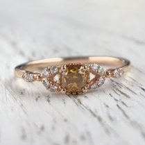 Treated Yellow Diamond Ring in Rose Gold