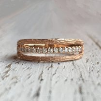 Triple Textured and set with Diamonds in Rose Gold