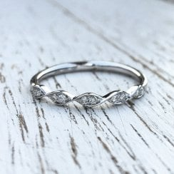 Twisted Diamond Half Eternity Band in White Gold