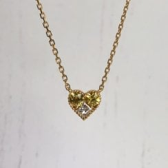 Richard Woo yellow and colourless diamond heart necklace