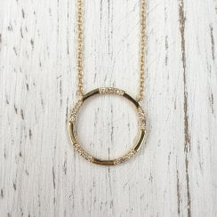 Richard Woo Yellow Gold Diamond Circle Necklace