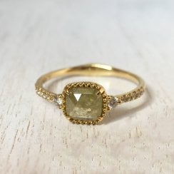 Rose Cut Diamond Ring with Diamond Accents in Yellow Gold