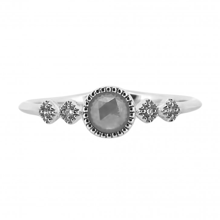 Richard Woo Rose Cut Diamond Ring with Mille Grain Details