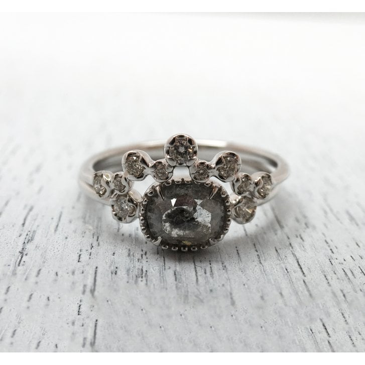 Richard Woo Rose Cut Grey Diamond and Matching Band in White Gold