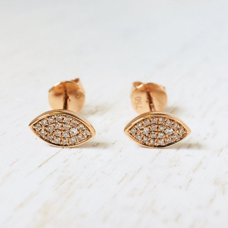 Richard Woo Rose Gold Diamond Eye Studs