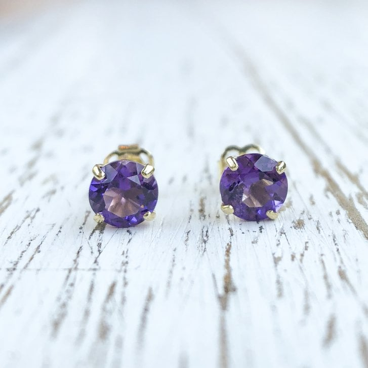 Round Amethyst Stud earrings in 9ct Yellow Gold