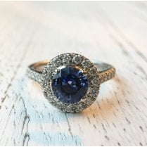 Round Blue Sapphire and Diamond Halo Ring