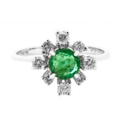 Round Emerald and Dazzling Diamond Accent Cluster Ring