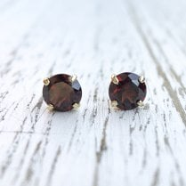 Round Garnet Stud Earrings in 9ct Yellow Gold