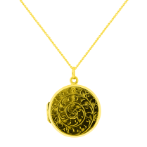 Round Locket Pendant with Engraved Leaves Swirl pattern