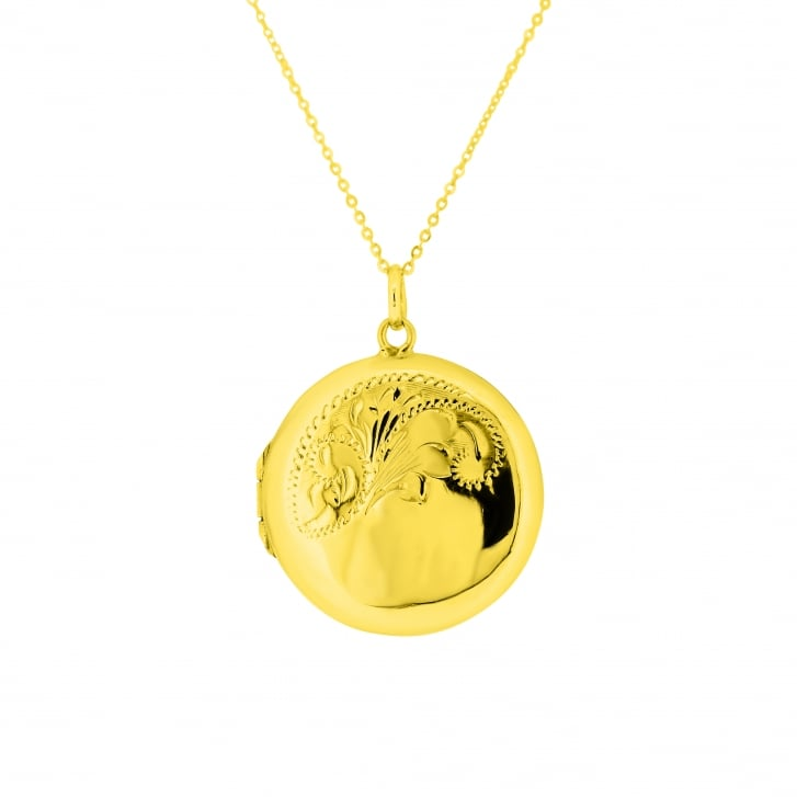 Round Locket with Acanthus Engraving Motif Pendant