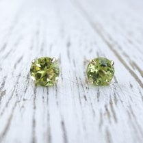 Round Peridot Stud earrings in 9ct Yellow Gold