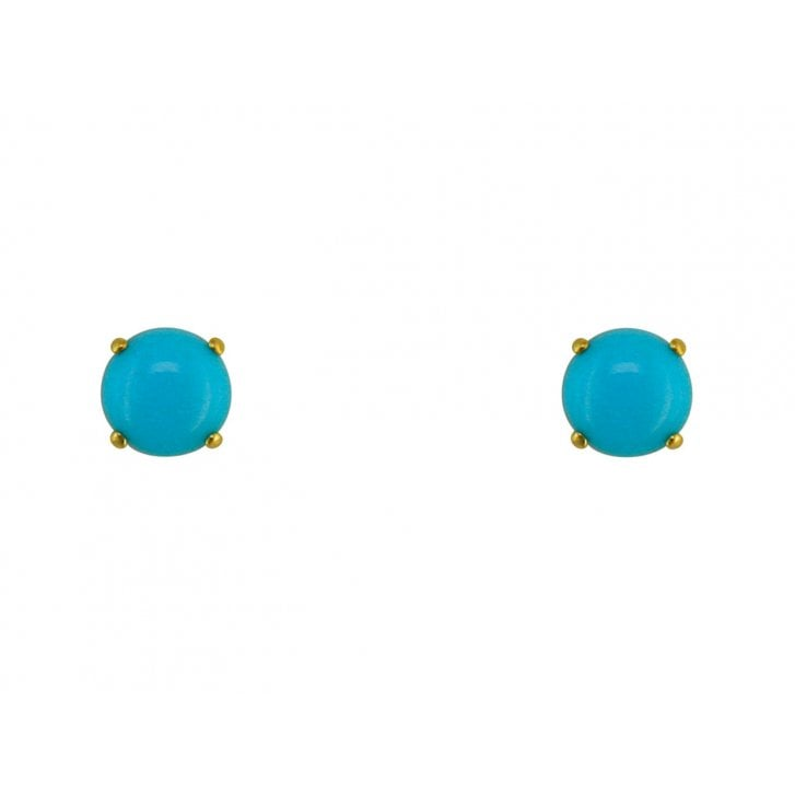 Round Stabilised Turquoise Stud Earrings in 9ct Yellow Gold