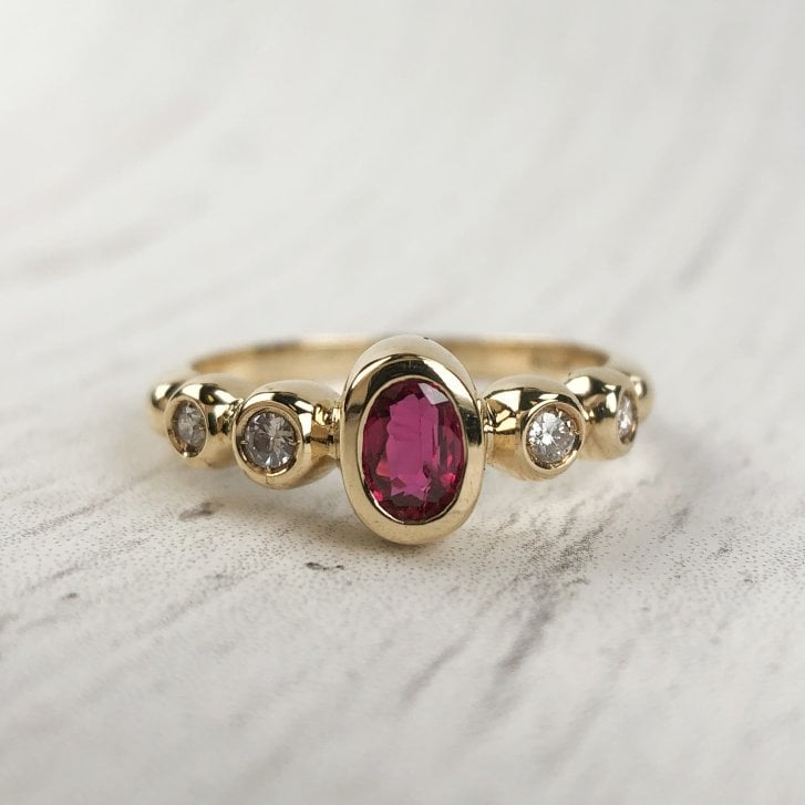 Ruby and Diamond Bubble Ring