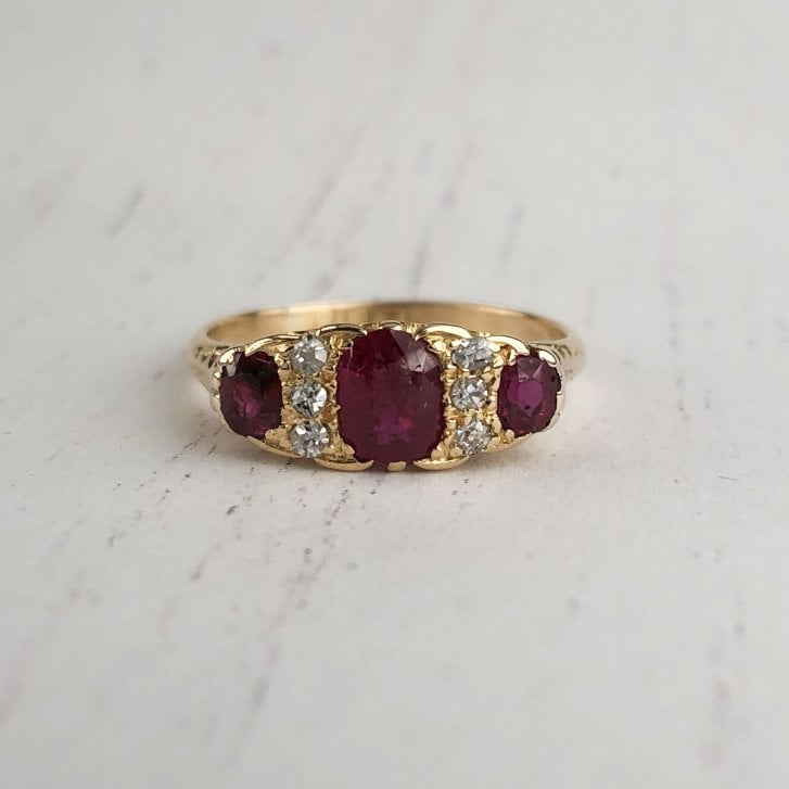 ruby and Diamond Carved Edwardian Ring