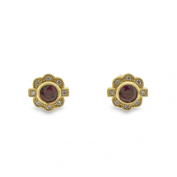 Richard Woo Ruby and Diamond Deco Inspired Earrings in Rose Gold