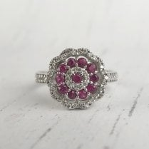Ruby and Diamond Double Cluster Ring