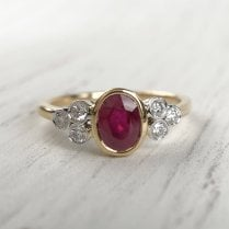 Ruby and Diamond Trefoil Ring